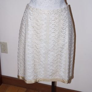 Banana Republic Cream & Gold Embroidery Skirt NWT
